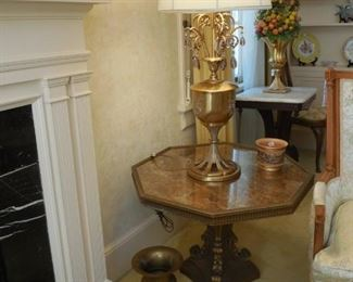 marble top end table and Rembrandt Lamp Company lamp with crystals