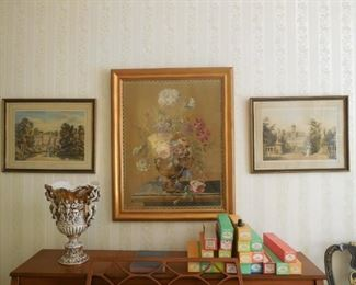 Framed Chelsea House tapestry.  Simply elegant