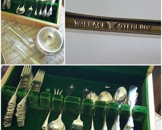 Wallace Sterling Silver Flatware Set. Sterling Bowl.