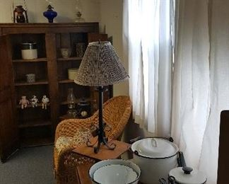 Wicker Chair, Drop Leaf Table, Granite ware, and Pie Safe.