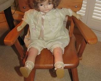 Small Rocker with Antique Doll