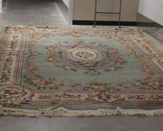 Mint Green Floral Area Rug