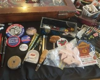 lots of mics smalls political pins, old dice bakelite, pens and vintage patches