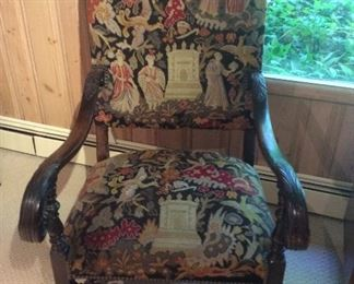 Jacobean chair with hand done needle point cover