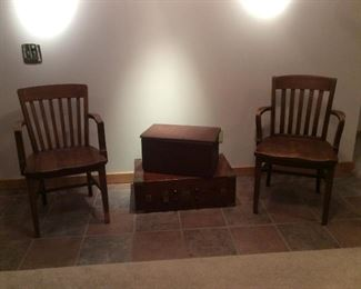 Desk chairs and trunks