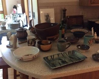 Pottery and wood bowls