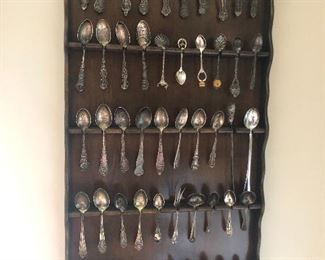 Souvenir spoons, some are sterling