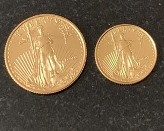 1999 1/4 oz and 1998 1/10 oz gold coins