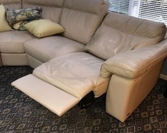 """BEIGE NATUZZI LEATHER FROM GORMANS POWER RECLINER SECTIONAL  LEFT SIDE 98""""  RIGHT SIDE 98"""" HEIGHT 36"""""""