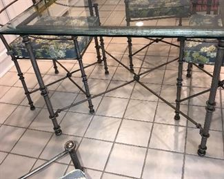 """CHIAVARI STYLE GLASS AND METAL TABLE AND 4 CHAIRS 42""""L x 42""""W x 29.5""""H"""