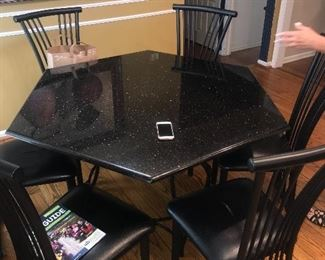 OCTAGON BLACK MARBLE TABLE WITH 6 CHAIRS