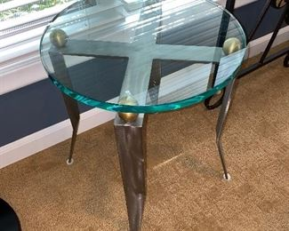 DESIGNER METAL AND GLASS ROUND SIDE TABLE
