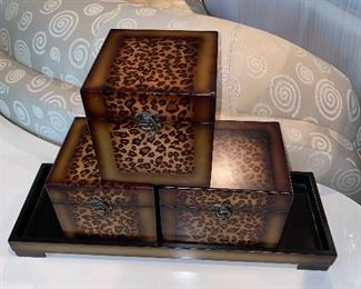 HOME DECORATIONS-SMALL ANIMAL PRINT TRUNKS