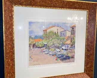 """SARAH FARNETTE ORIGINAL WATERCOLORPAINTING """"CAGNY, FRANCE"""" 34"""" x 32"""" WITH FRAME"""