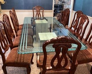 UPHOLSTERED TRADITIONAL CHAIRS BY ASHLEY FURNITURE -10 CHAIRS (TABLE NOT FOR SALE)