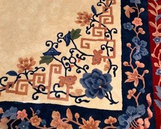 ORIENTAL WOOL RUG BEAUTIFUL VIVID COLORS - RED / BLUE / CREAM / PINK11' x 8'