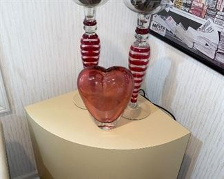 ART GLASS VASE AND CANDLE HOLDERS