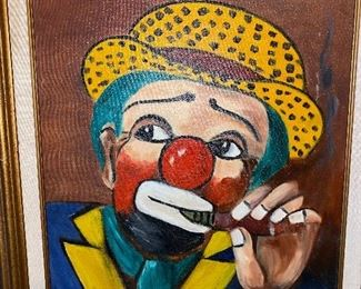 CLOWN OIL ON CANVAS PAINTING