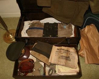 WWII US Military Uniform, Chest and Newspapers