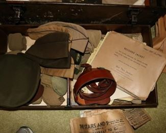 WWII US Military Uniform, Footlocker Trunk Chest and Newspapers