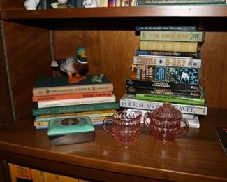 Books & Pink Cube Depression Glass