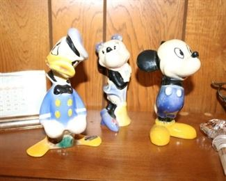 vintage ceramic Mickey and Minnie Mouse.  Donald Duck Too!