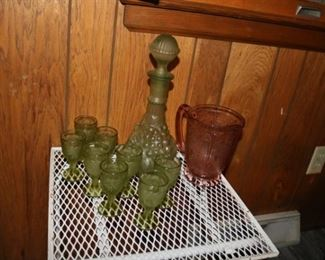 Imperial Glass Green Grape Leaves decanter Set