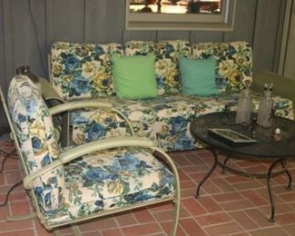 Vintage Glider Sofa and Matching Chair