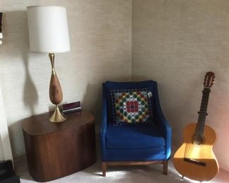 Contemporary End Table, Vintage Lamp, Slyter Arm Chair, Guitar