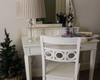 White Vanity with Chair