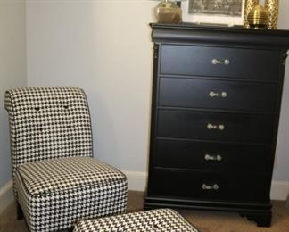 Houndstooth Chair and Ottoman