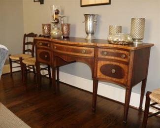 Antique  Edwardian mahogany inlaid Sheraton style sideboard