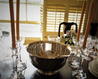Val St Lambert Crystal Candle Sticks...Silver Plated Punch Bowl