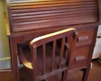 Child's Roll Top Desk & Chair