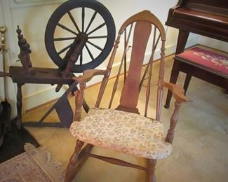 Antique Spinning Wheel ....Antique Rocker...