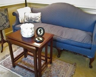 Camelback Loveseat....Nesting Tables..Karastan Rug....Kittinger Fire Screen...