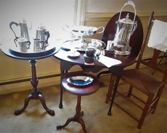 Side Tables...Pewter....Silver Plate.....
