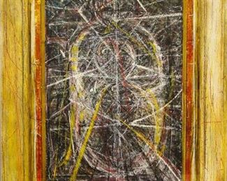 """James C. Harrison, #1023: """"Truth Extraction"""", September 1981/1985. Gouache on Paper. Signed lower right. Framed by the artist: 22.5"""" x 28.5"""". $675.00"""