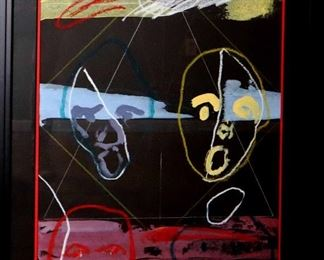 """James C. Harrison, #1377: """"Right Side / Left Side"""", November 1988. Crayon, Gouache & Tempera on Paper. Signed lower right. Framed: 25"""" x 37"""". $5.00"""