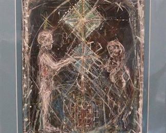 """James C. Harrison, #1378: """"Purification of Hercules"""", 1982. Mixed Media on Paper. Signed lower center. Matted: 16"""" x 19"""". $250.00"""
