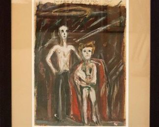 """James C. Harrison, #1381: """"Dad & Mom - Of Course"""", July 1954/1974. Gouache on Paper. Signed upper right. Framed: 25"""" x 37"""". $725.00"""