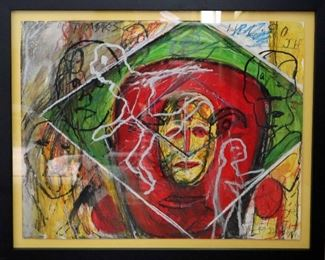"""James C. Harrison, #1408: """"Cycle of Masks"""", 1990. Mixed Media on Paper. Signed lower right. Framed: 28"""" x 23"""". $675.00"""
