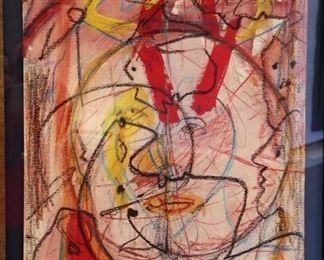 """James C. Harrison, #1412: """"To Max Jacob"""", 1989. Mixed on Paper. Signed lower center. Framed: 27"""" x 34"""". $1075.00"""
