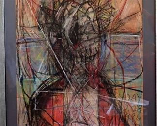 """James C. Harrison, #1418: """"God's Friday"""", 1986. Mixed Media on Paper. Signed lower right. Framed: 30.5"""" x 40.25"""". $1,250.00"""