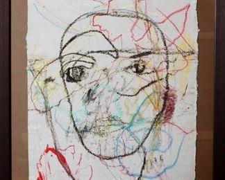 "James C. Harrison #1457 - ""Loving Thru"" 1990. Mixed Media on Paper. Framed: 29.25"" x 35"". Signed lower left. $1100.00"