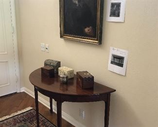 Demilune Table and 18th century Oil Painting - box collection
