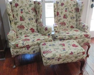 Wing chairs and ottoman