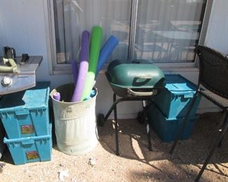 Small Covered Grill, Bins & Pool Noodles