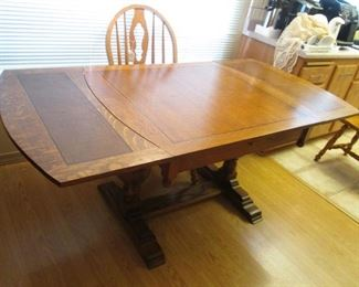 """Antique Trestle Table with Leaves Inserted, Overall Size:  72"""" X 36"""""""