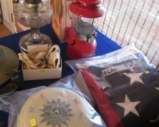 """Cotton American Flag, New in Package, 9'6"""" X 5',                      Vintage Red Coleman Lantern with Box #200A-195, Single Mantle.  Vintage Ceiling Light Fixture with Nautical Theme, parts inside bag..."""